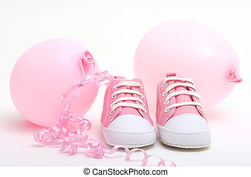 Baby girl - Pink balloons and shoes for newborn baby girl