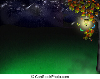 elf glade under stars - Background for a working table - elf...