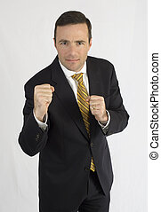 Man in black suit ready to fight