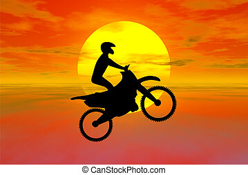 motocross silhouette with sunset behind