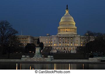 Capitol Hill at nigh - US Senate building at National Mall,...