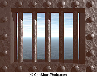 prison - 3d illustration - prison window with view on the...