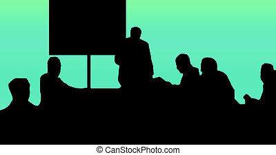 Silhouette Classroom - Classroom with 1 Teacher and 5...