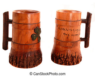 Lucky Mugs - Pair of vintage wooden drinking mugs with Irish...