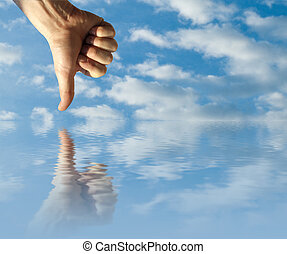 Opposites - Hand in the sky and his reflex in the water
