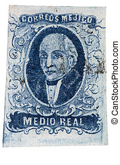 First Postage Stamp of Mexico - 1856 Miguel Hidalgo -...
