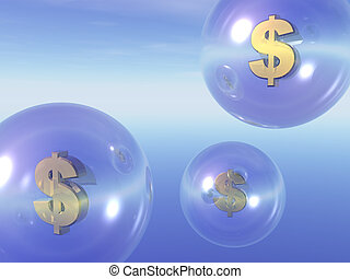 money - transparent balls with dollar sign inside in the sky...