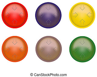 Multi-coloured buttons on a white background