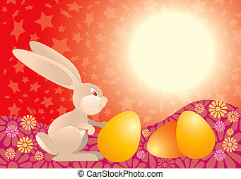 Easter Rabbit in red - Easter rabbit with eggs ready for...