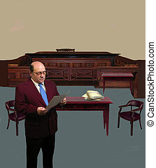 Attorney in court - An Attorney in court, with space to add...