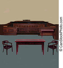 Fictional Courtroom - A fictional courtroom, with space to...