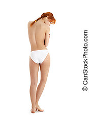 healthy redhead in white bikini panties - classical picture...