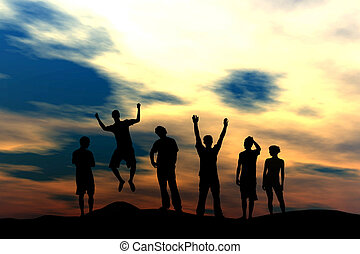 Happy Team - Sunset - Vector illustration of active people...
