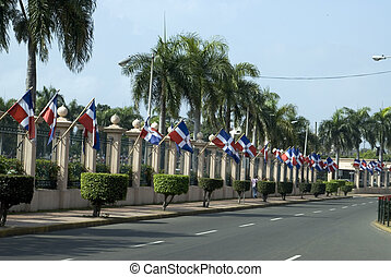 flags dominican republic national palace - row of flags...