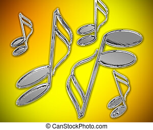 Chrome semi-quavers on orange and yellow background