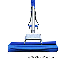 dark blue mop - Dark blue mop for washing floors on a white...