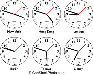 time around the world - Six differnt clock showing time...