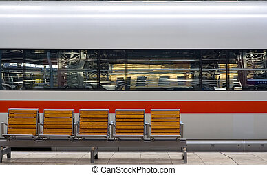 Closeup speedtrain - Closeup of speedtrain in station with...