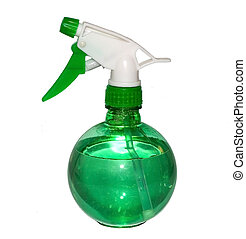 Water Bottle - An isolated green and white water bottle.