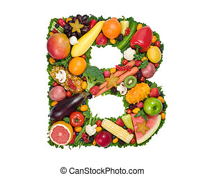 Alphabet of Health - Letter B made of fresh fruits and...