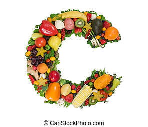 Alphabet of Health - Letter C made of fresh fruits and...