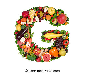 Alphabet of Health - Letter G made of fresh fruits and...