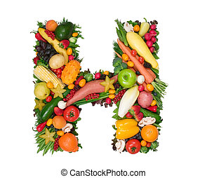 Alphabet of Health - Letter H made of fresh fruits and...
