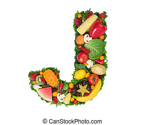 Alphabet of Health - Letter J made of fresh fruits and...