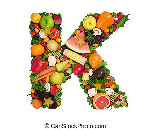Alphabet of Health - Letter K made of fresh fruits and...