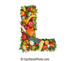 Alphabet of Health - Letter L made of fresh fruits and...