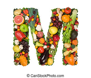Alphabet of Health - Letter M made of fresh fruits and...