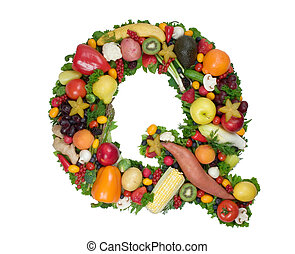 Alphabet of Health - Letter Q made of fresh fruits and...