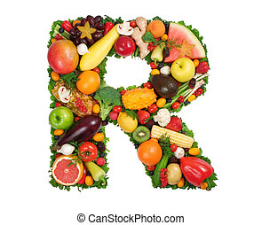 Alphabet of Health - Letter R made of fresh fruits and...
