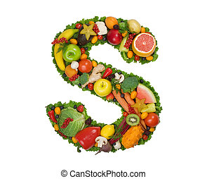 Alphabet of Health - Letter S made of fresh fruits and...