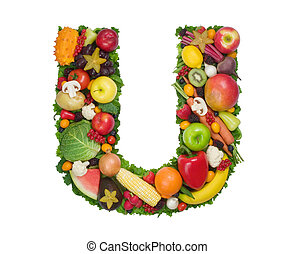 Alphabet of Health - Letter U made of fresh fruits and...