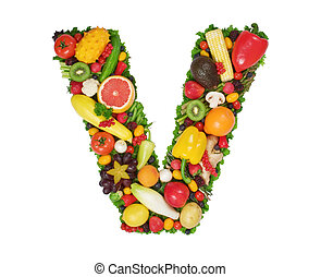 Alphabet of Health - Letter V made of fresh fruits and...