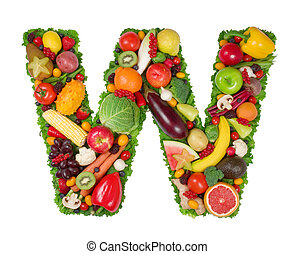 Alphabet of Health - Letter made of fresh fruits and...