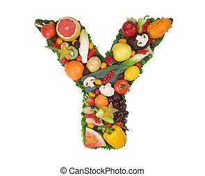 Alphabet of Health - Letter Y made of fresh fruits and...