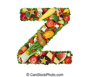 Alphabet of Health - Letter Z made of fresh fruits and...