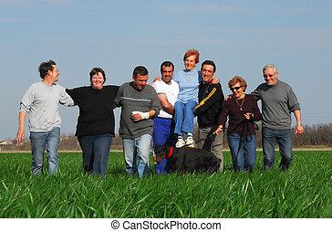 old friends in a field