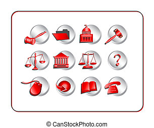 Legal Icon Set - Red