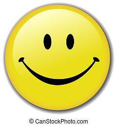 Feliz, smiley, rosto, botão, emblema