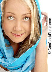 portrait of smiling blond in blue scarf - closeup portrait...