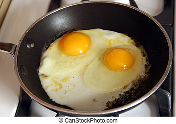 Two eggs frying in a skillet