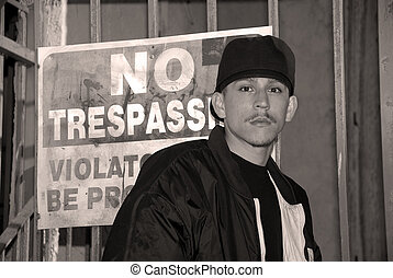 Latino Boy - Black and White Portrait - No Trespassing - A...
