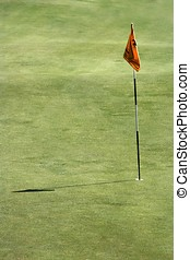 Golf Field - A close up of flag in the golf field .