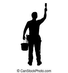 man at work - silhouette - dark image outlined against a...