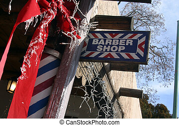 Barber Shop blue, red and white sign