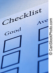 Checklist - focus point on the Checklist(word),special blue...
