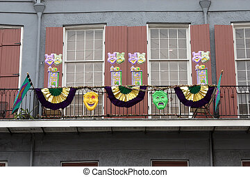 New Orleans balcony, decorated for Mardi Gras